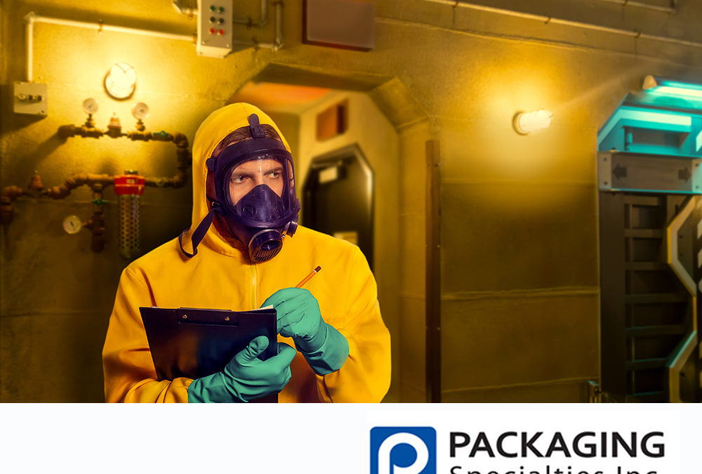 Man in a bio-hazard hasmat suit